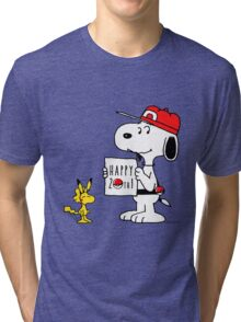 Pokemon 20th featuring Snoopy and Woodstock Tri-blend T-Shirt