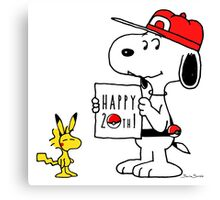 Pokemon 20th featuring Snoopy and Woodstock Canvas Print