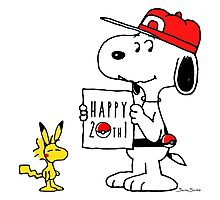 Pokemon 20th featuring Snoopy and Woodstock Photographic Print