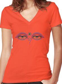 Buddha eyes 1 Women's Fitted V-Neck T-Shirt