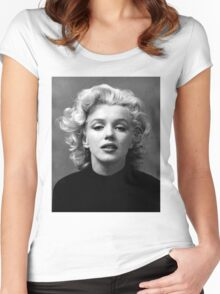 Vintage: Marilyn Monroe (Black&White) Women's Fitted Scoop T-Shirt