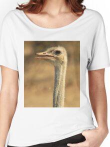 Ostrich Profile - African Wild Bird Backgrounds - Wild Neck Women's Relaxed Fit T-Shirt