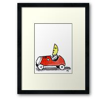 Moonman drives his Car Framed Print