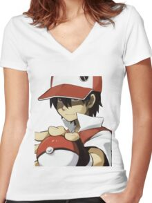 PKMN TRAINER RED Women's Fitted V-Neck T-Shirt