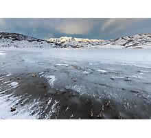 Frozen Lake with mountains  Photographic Print