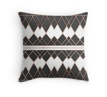 Modern Chic Rose Gold Black and White Triangles Throw Pillow