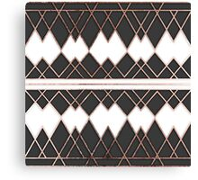 Modern Chic Rose Gold Black and White Triangles Canvas Print