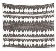 Modern Chic Rose Gold Black and White Triangles Wall Tapestry
