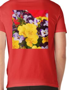 Pansies and Red Cart Mens V-Neck T-Shirt