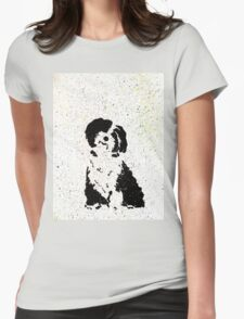 Black and White Pup Womens Fitted T-Shirt