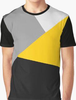 Simple Modern Gray Yellow and Black Geo Graphic T-Shirt