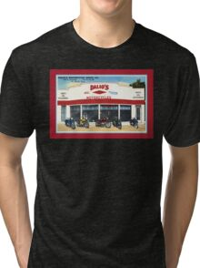 Fifties classic motorcycles dealership Fort Worth Texas Tri-blend T-Shirt