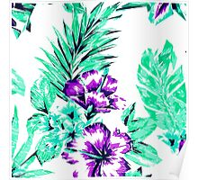 Vibrant Abstract Purple and Teal Tropical Flowers Poster