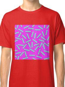 Fun Teal Confetti on Neon Purple Classic T-Shirt