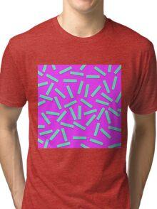 Fun Teal Confetti on Neon Purple Tri-blend T-Shirt