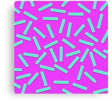 Fun Teal Confetti on Neon Purple Canvas Print