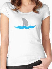 simple shark fin in the water Women's Fitted Scoop T-Shirt