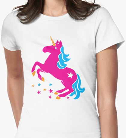 Cute pink UNICORN Womens Fitted T-Shirt