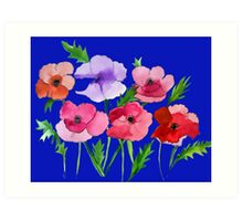 Poppies Amapolas Hand-painted Watercolor Art Print