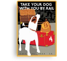 Vintage Travel Dog and Train Poster Canvas Print