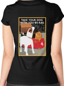 Vintage Travel Dog and Train Poster Women's Fitted Scoop T-Shirt
