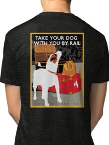 Vintage Travel Dog and Train Poster Tri-blend T-Shirt
