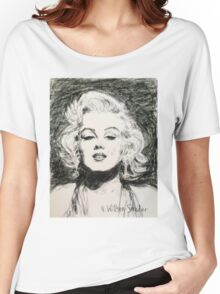 Marilyn, Black and White Women's Relaxed Fit T-Shirt