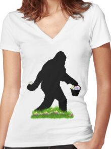 Gone Easter Squatchin with Pastel Background Women's Fitted V-Neck T-Shirt