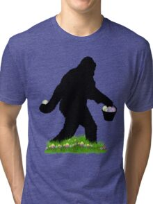 Gone Easter Squatchin with Pastel Background Tri-blend T-Shirt
