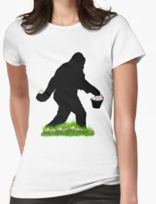 Gone Easter Squatchin with Pastel Background Womens Fitted T-Shirt