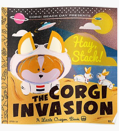 Corgi Invasion - Oregon Beach Day Poster