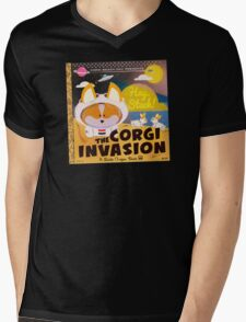 Corgi Invasion - Oregon Beach Day Mens V-Neck T-Shirt