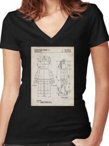 Lego Minifigure US Patent Art Women's Fitted V-Neck T-Shirt