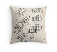 Lego Toy Blocks US Patent Art Throw Pillow