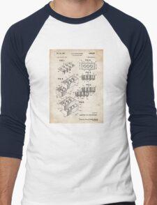 Lego Toy Blocks US Patent Art Men's Baseball ¾ T-Shirt