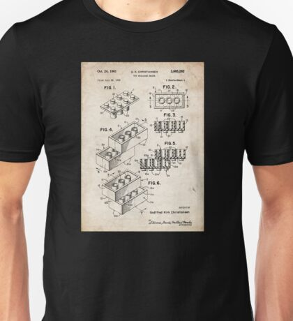 Lego Toy Blocks US Patent Art Unisex T-Shirt