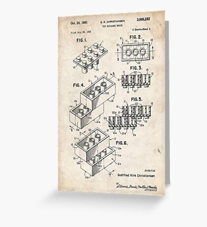 Lego Toy Blocks US Patent Art Greeting Card