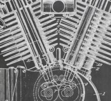 Harley Davidson Motorcycle Engine US Patent Art 1923 Sticker