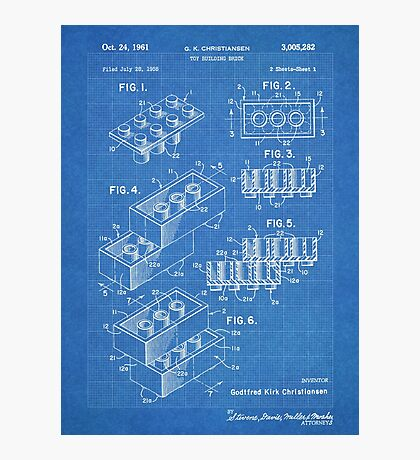 LEGO Construction Toy Blocks US Patent Art blueprint Photographic Print
