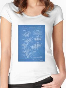 LEGO Construction Toy Blocks US Patent Art blueprint Women's Fitted Scoop T-Shirt