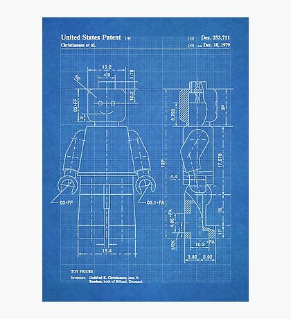 LEGO Minifigure US Patent Art Mini Figure blueprint Photographic Print