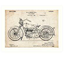 Harley Davidson Motorcycle US Patent Art 1928 Art Print