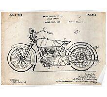 Harley Davidson Motorcycle US Patent Art 1928 Poster