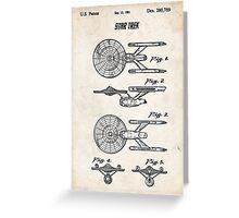 Star Trek USS Enterprise US Patent Art Spacecraft Rocket Kirk Spock Greeting Card