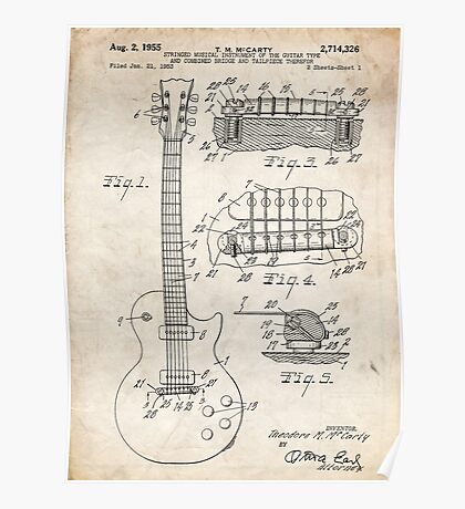 Gibson Les Paul Guitar US Patent Art 1955 Poster