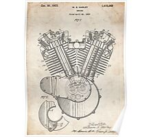 Harley Motorcycle Engine US Patent Art 1923 Harley-Davidson V-Twin Poster