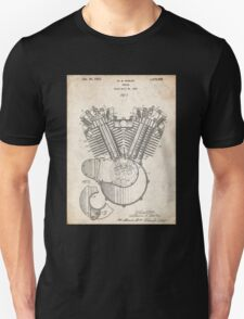 Harley Motorcycle Engine US Patent Art 1923 Harley-Davidson V-Twin Unisex T-Shirt