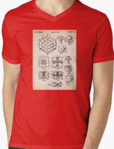 Rubik's Cube Toy Puzzle 1983 US Patent Art Mens V-Neck T-Shirt