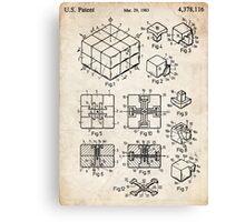 Rubik's Cube Toy Puzzle 1983 US Patent Art Canvas Print