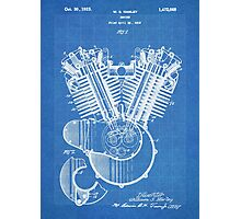 Harley Motorcycle Engine US Patent Art 1923 Harley-Davidson V-Twin Blueprint Photographic Print